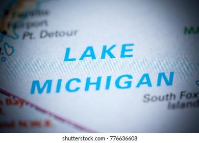 Lake Michigan. Canada on a map.