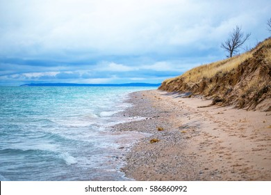 Lake Michigan lakeshore in northern Michigan at Sleeping Bear Dunes National Lakeshore