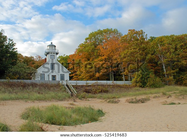 Lake Michigan lighthouse in autumn/Old Mission Point Lighthouse
