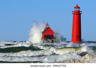 lake Michigan lighthouse/waves in grand haven Michigan/pure Michigan