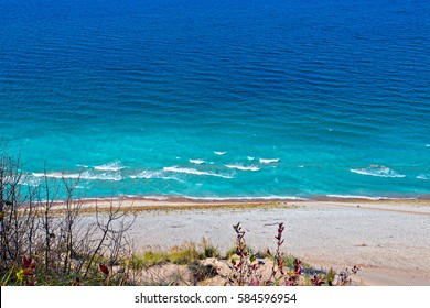 Lake Michigan seen from an overlook at Sleeping Bear Dunes National Lakeshore in northern Michigan