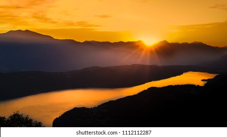 Lake Millstatt in Carinthia Austria sunset