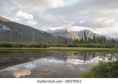 Lake Minnewanka, a glacial lake in Banff National Park, Canadian Rockies, Alberta, Canada
