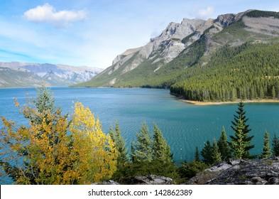 Lake Minnewanka or Water of the Spirits in Nakota Stoney Indian language Banff National Park Alberta Canada