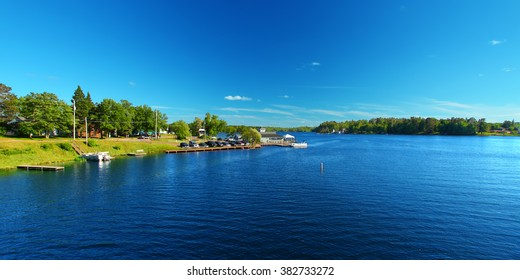 Lake Minocqua is located in northwoods Wisconsin and is a popular summer vacation destination.