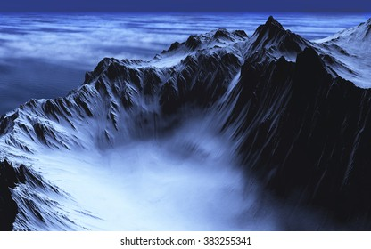 A lake of mist is nestled in the valley of some rugged mountains - 3d render.
