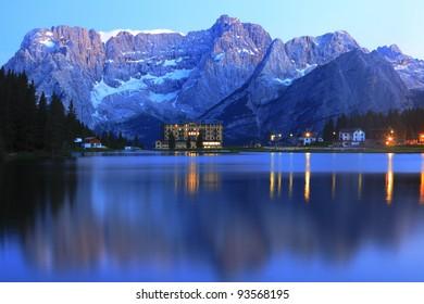 Lake Misurina at evening