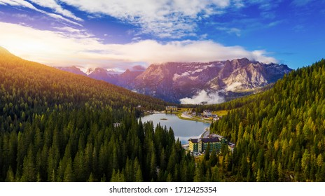 Lake Misurina or Lago di Misurina Italy. Misurina Lake with perfect sky reflection in calm water. Stunning view on the majestic Dolomites Alp Mountains, Italy, National Park Tre Cime di Lavaredo.