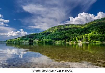 Lake Mondsee in the Salzkammergut, Salzburger Land, Austria, Europe