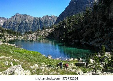 "Lake Monestero. ""Chariots of fire"" trail. Pyrenees mountain, Spain"