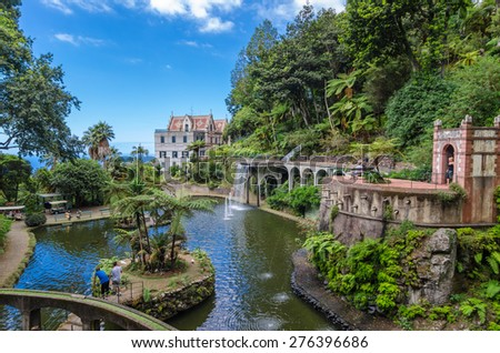 The lake Monte Palace Tropican Garden. Funchal, Madeira island, Portugal.