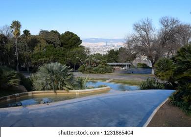 Lake in the Montjuic park. Barcelona city.