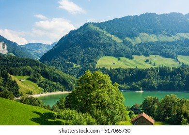 Lake Montsalvens of Prealps mountains in Gruyere district in Canton Fribourg in Switzerland