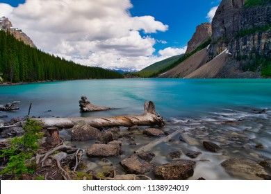 Lake Moraine in all his beauty. The beautiful blue lake and the surrounding mountains. The river coming in from the back. Beautiful branch in the foreground.