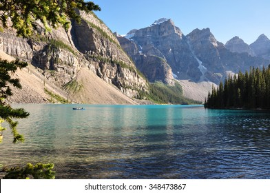 Lake Moraine early morning in all it's beauty, Alberta, Canada.
