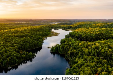 Lake in morning light from an aerial view