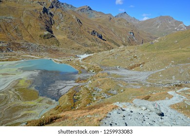 Lake in the mountains with interesting colours on a clear sunny day