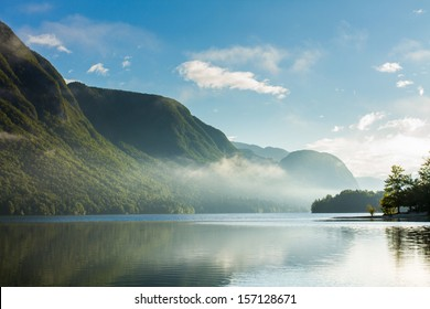 lake and mountains, landscape