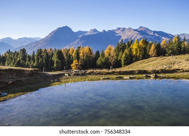Lake in the mountains of Mortirolo in Valtellina, Italy.
