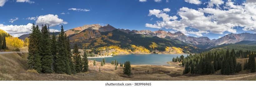 Lake and mountains panorama, Colorado, USA