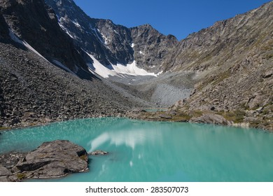 Lake, mountains, rocks