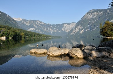 Lake in the mountains at sunrise.