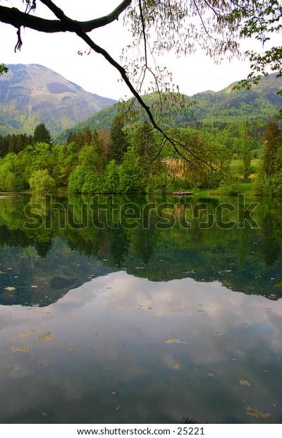 lake, moutain, dirty water