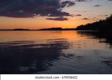 Lake Muskoka Sunset From Bowyer's Beach, Bracebridge, Ontario, Canada.