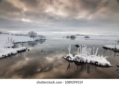 Lake Myvatn in snowy time, north Iceland, winter