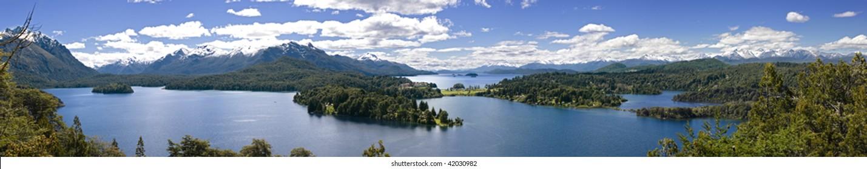 Lake Nahuel Haupi. Bariloche. Argentina. Panoramic view. Hotel Llao Llao