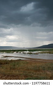 Lake Nakuru National Park after flooding. Rising water levels in 2014 forced the park's famous flamingos to flee.