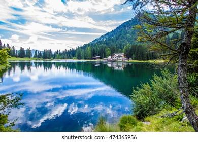 The lake Nambino in the Alps near Madonna di Campiglio, Trentino, Italy