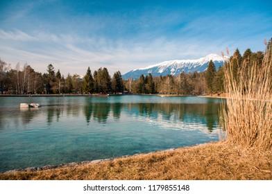 lake šobec near bled in slovenian alps in autumn
