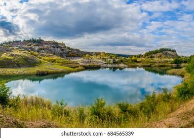 Lake near Cluj Napoca city, blue lagoon, Transylvania, Romania