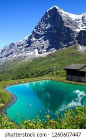 Lake near Kleine Scheidegg. Panorama Trail: Männlichen — Kleine Scheidegg with Mount Eiger view, Lauterbrunnen, Switzerland