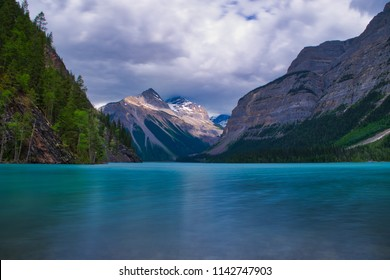 Lake near Mount Robson in Canada. Beautiful blue water in the mountains.