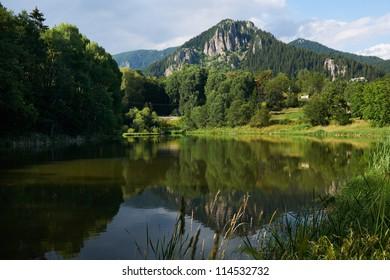 Lake near Smolyan town, Rhodope mountains, Bulgaria in summer season