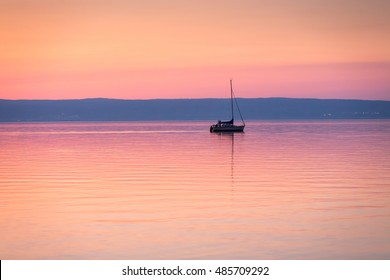 Lake Neusiedler See after sunset, Burgenland, Austria