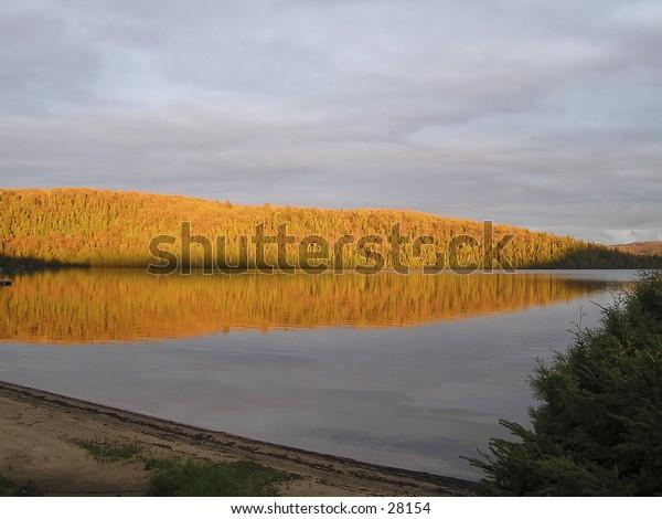 Lake in north Laurentians, Quebec