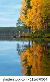 A lake in Northern Finland in autumn colors.
