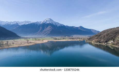 Lake of Novate Mezzola, Natural Reserve. Italian Alps.