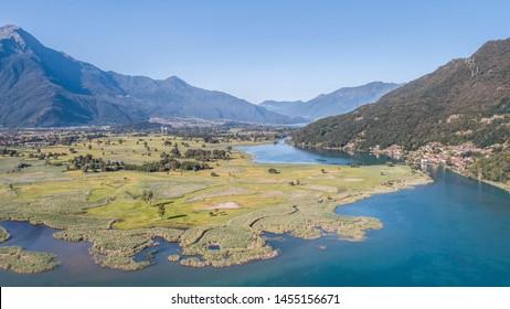 Lake of Novate Mezzola, Natural reserve of Pian di Spagna. Aerial photo