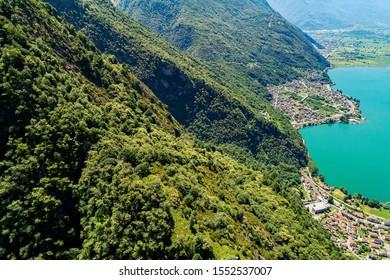 Lake of Novate Mezzola and Pian di Spagna (IT) - Panoramic aerial view of Verceia