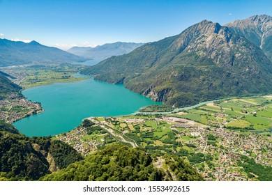 Lake of Novate Mezzola and Pian di Spagna (IT) - Panoramic aerial view