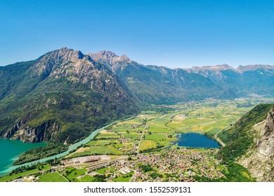 Lake of Novate Mezzola and Valchiavenna (IT) - Panoramic aerial view