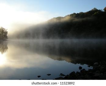 Lake Ogle with morning fog