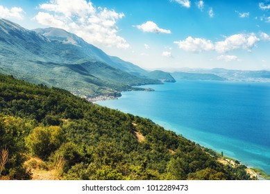 Lake Ohrid from near the  Galicica National Park, Macedonia