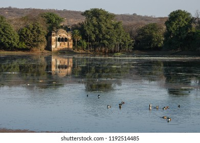 Lake and old hunting post in the Ranthambore National Park, Rajasthan, India