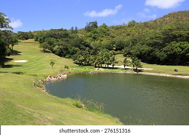Lake on golf course at the Constance Lemuria Resort. Praslin Island in the Seychelles.