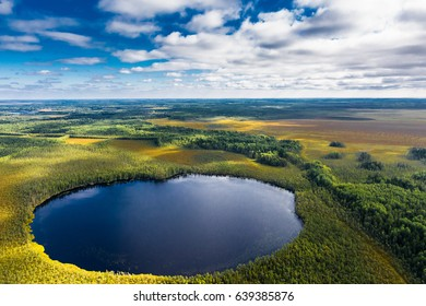 Lake on the Vasyugan Swamp from aerial view. Siberia, Russia